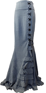 (XS-28) Rainy Night in London Skirt  - GRAY <br><br> Gothic vintage style ruffle maxi skirt