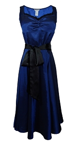(XS-XXL) RARE - LIMITED EDITION - Mesmerizing Marilyn Dress - BLUE <br><br> Vintage inspired satin 40s 50s retro swing style dress