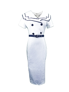 (XS-XXL) RARE - LIMITED EDITION - Nautical Nancy Dress - WHITE <br><br> 40s 50s vintage inspired pencil retro sailor dress