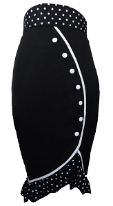 (XS-28) Deadly Tulip Skirt - BLACK <br><br> Vintage inspired, 40s, 50s style, ruffle, pencil skirt.