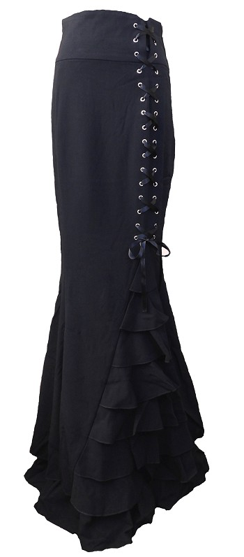 (XS-28) Rainy Night in London Skirt  - BLACK <br><br> Gothic vintage style ruffle maxi skirt