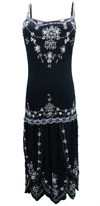 (XS-XL) Bee's Knees Dress - BLACK <br><br> 1920's vintage inspired Black Flapper, beaded sequined dress