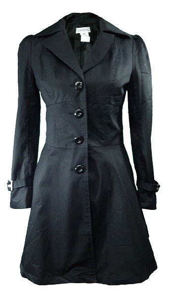 Front - Black Victorian Goth Gothic Steampunk Cosplay Style Coat Jacket